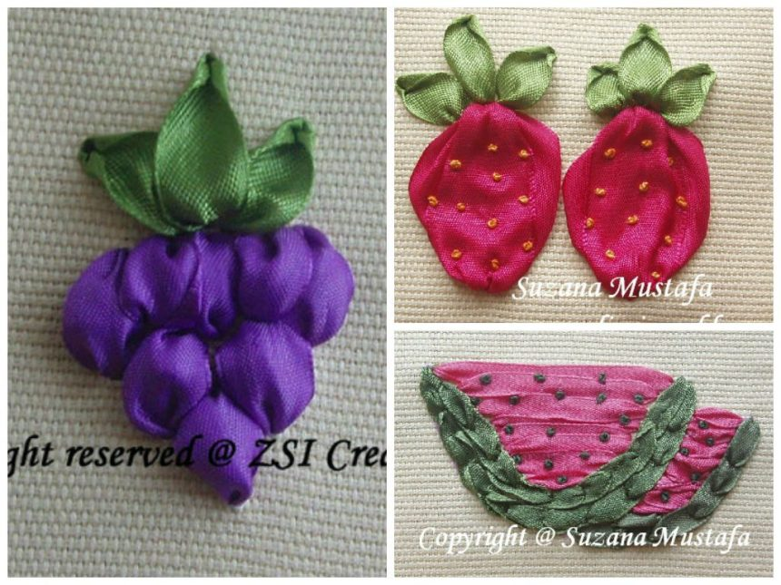 Ribbon Embroidery Grape Strawberry And Watermelon Simple