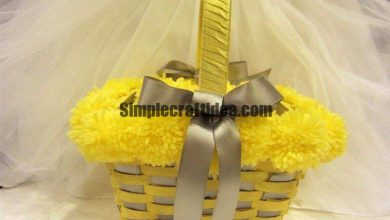 Wicker baskets pom-poms and ribbons