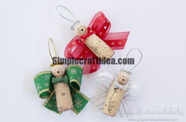 Christmas angels with corks and ribbons
