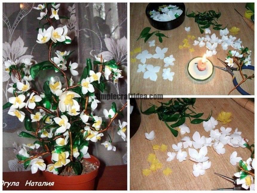 Jasmine bush from plastic bottles