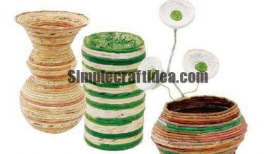 Vases and flower arrangements from newspaper tubes