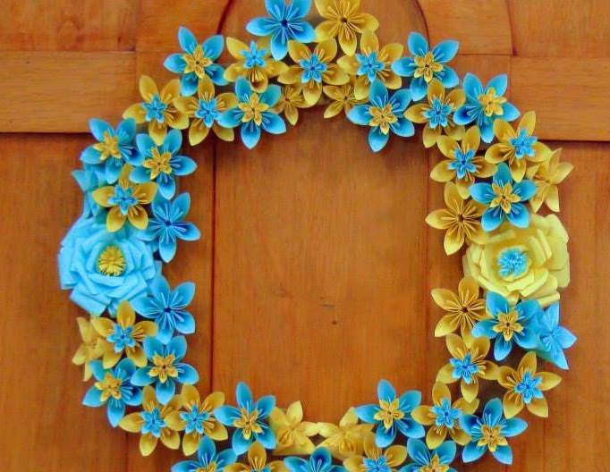 origami paper flowers wreath simple craft ideas