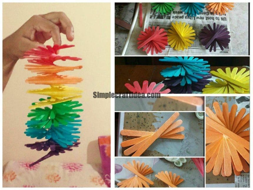 Spiral ice cream stick wall hanging simple craft ideas for Ice stick craft ideas