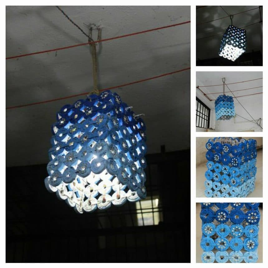 Made this lantern with waste newspapers simple craft ideas for Craft items from waste paper