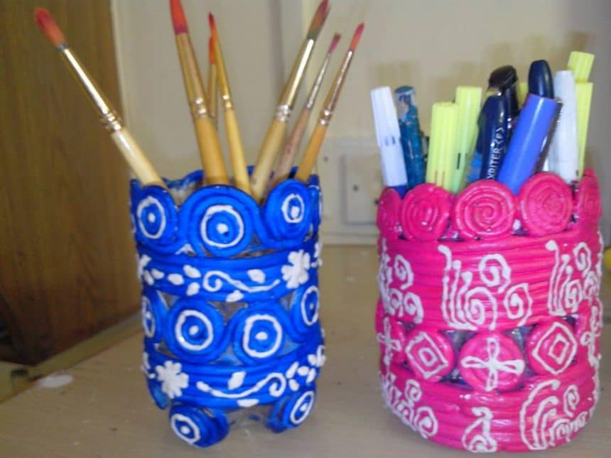 Pen holder simple craft ideas for Simple craft work using waste materials