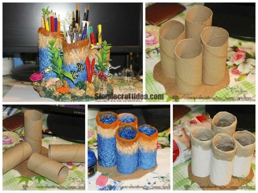 How To Make Coral Reef Pen Stand Simple Craft Ideas