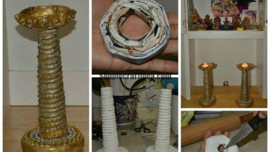 Diya stands made out of news paper