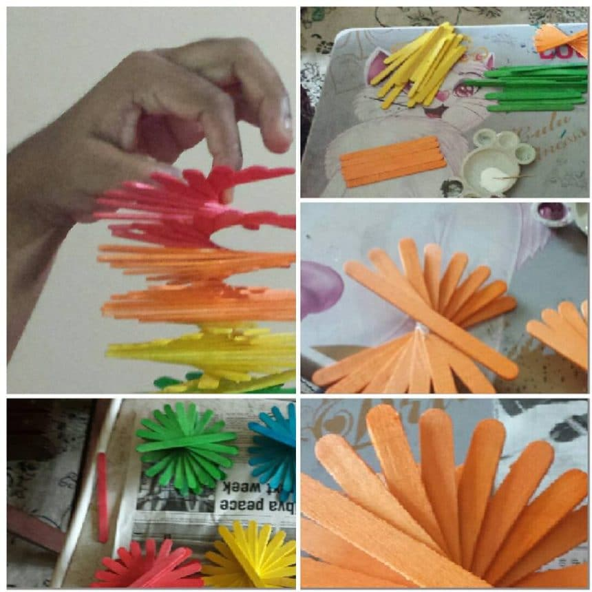 Spiral ice cream stick wall hanging simple craft ideas for Best out of waste ideas from ice cream stick