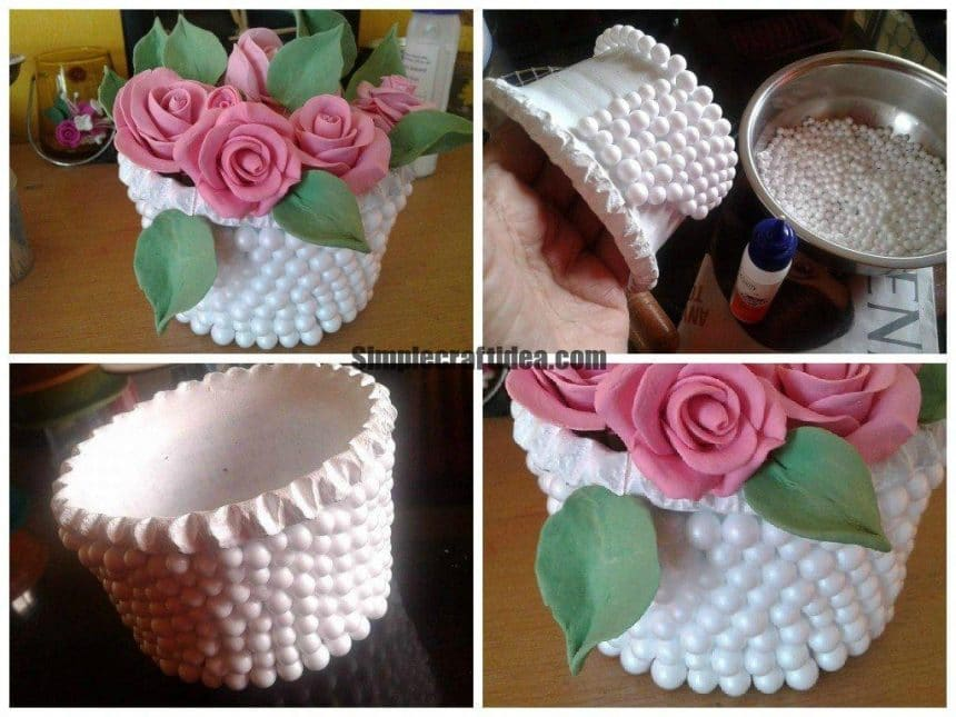 Thermocol Balls Decorate Flower Vase By Team Fresh Ideas March 28 2015 225 Pm