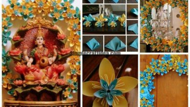 Origami paper flowers wreath