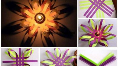 Making of paper lotus candle holder
