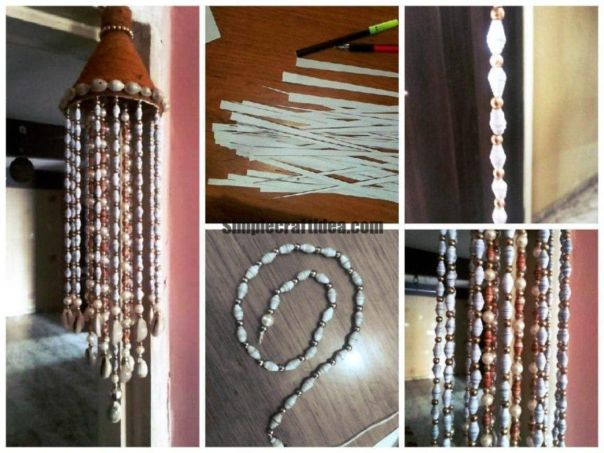 Paper beads wind chimes