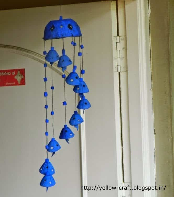 Egg carton wind chime simple craft ideas for Easy to make wind chimes