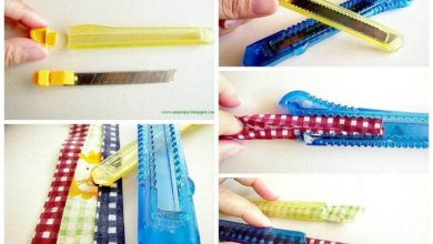Strips of fabric using a knife stationery