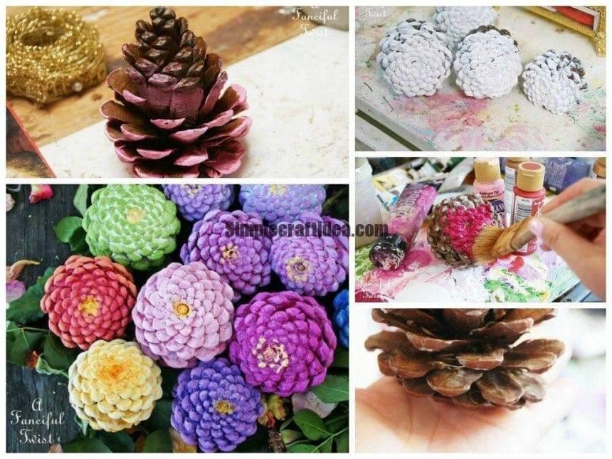 Make zinnia flowers from pine cones