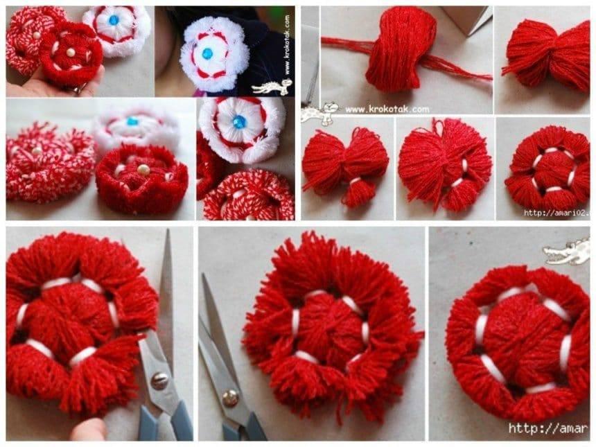 Flowers from yarn