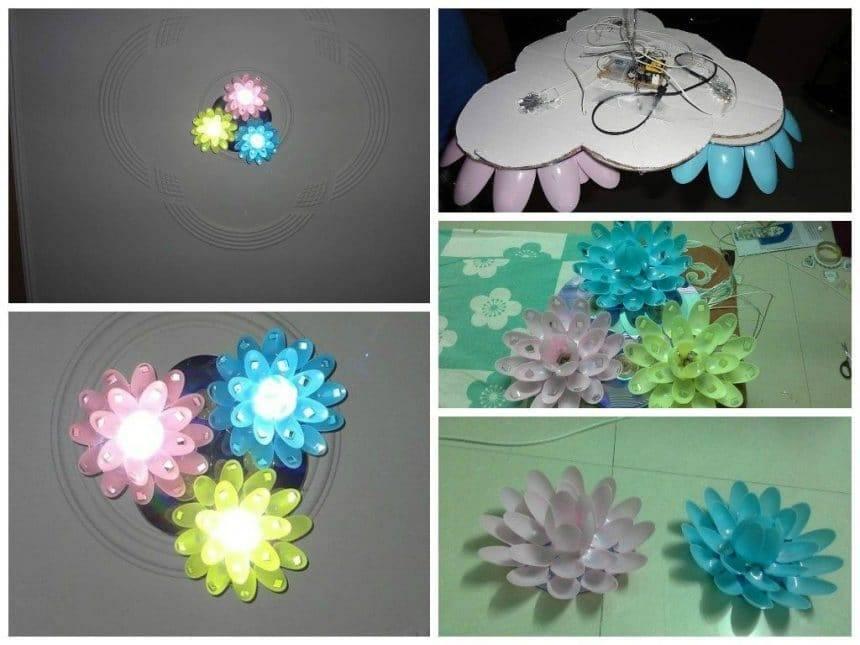 Plastic spoon chandelier simple craft ideas for Chandelier craft ideas