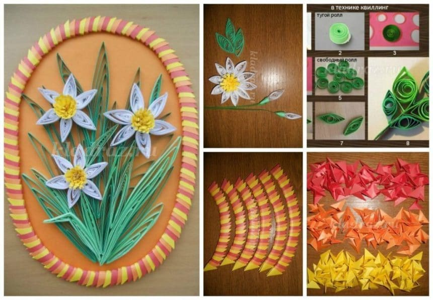 Daffodils from quilling technique