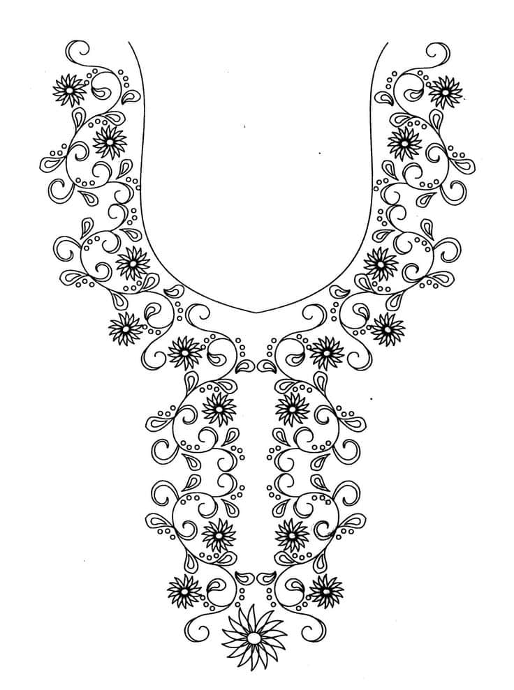 Hand embroidery designs for neck of kurtis makaroka