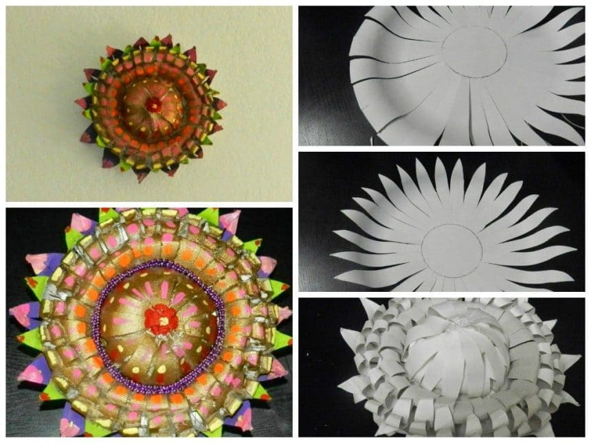 Flower tower with paper plates