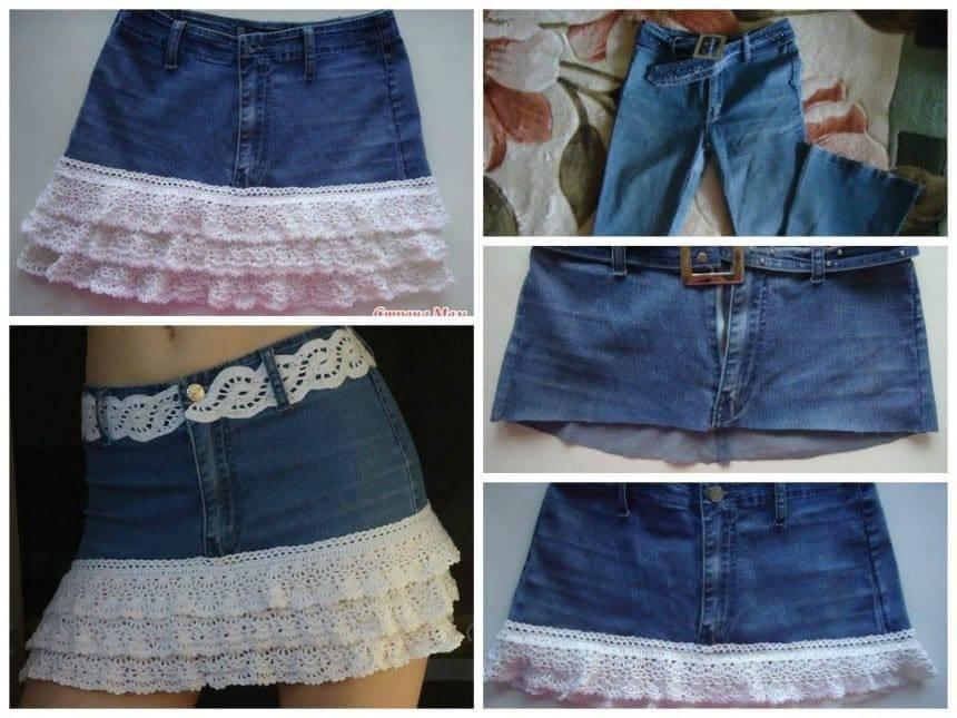 Jeans transform a skirt