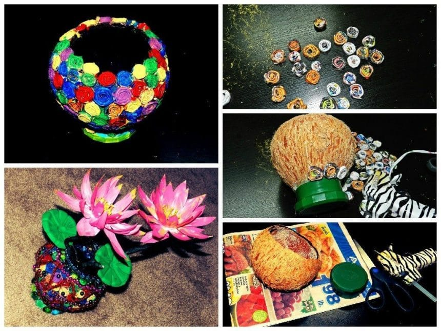 Coconut Shell Flower Vase Simple Craft Ideas