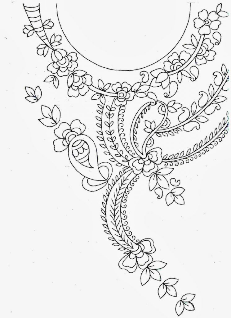 Line Drawing Embroidery : Hand embroidery designs for kurtis neck simple craft ideas