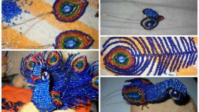 Peacock from bead work