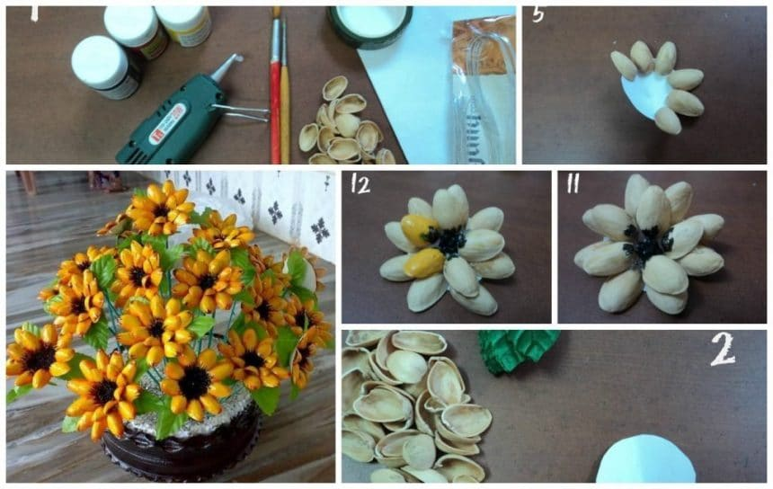 Pista Shell Flowers Simple Craft Ideas