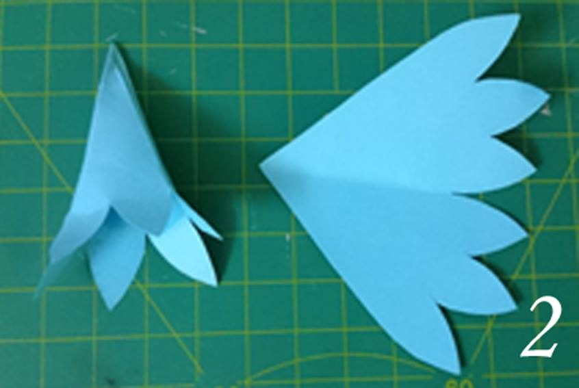 make 3 slits of equal size as shown in the image roll the paper with the tip of your fingers stamen is ready