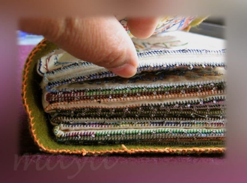 Embroidered Book Cover Tutorial : How to make sample stitch book simple craft ideas