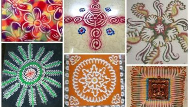 Rangoli making with fingers