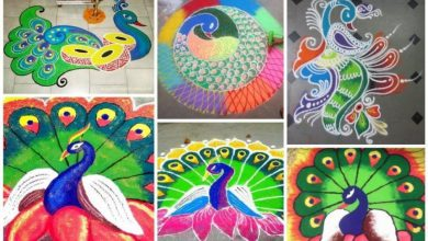 How to make rangoli with peacock