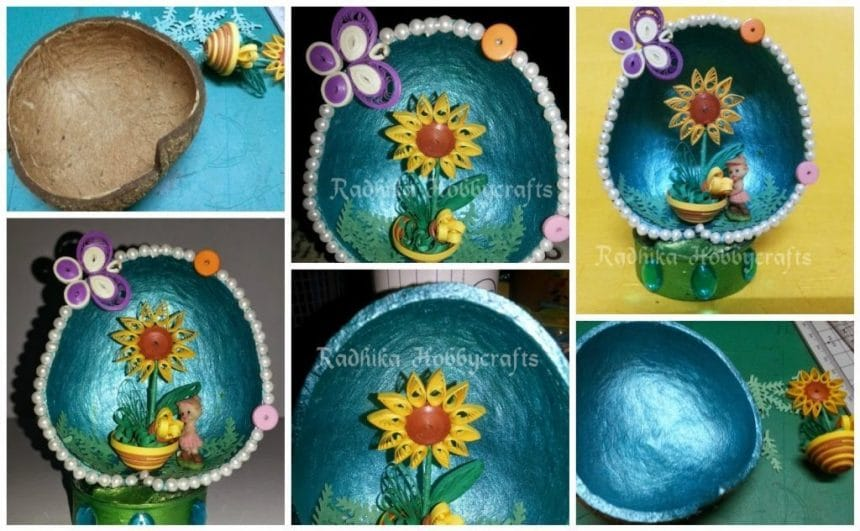 Quilled Flower Pot In Coconut Shell Simple Craft Ideas