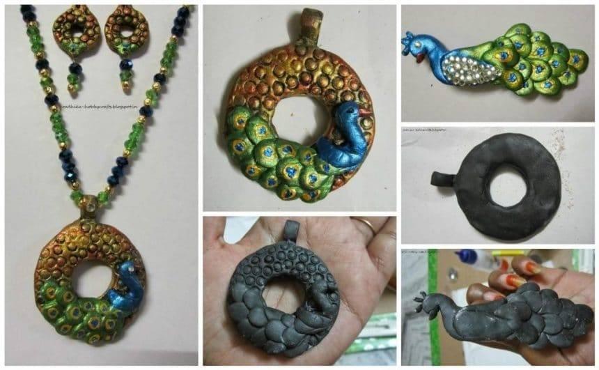 M-seal peacock pendent earrings set and brooch