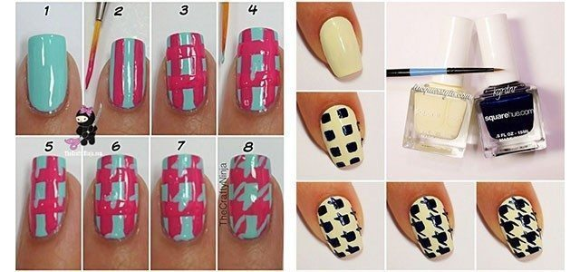 Easy-Houndstooth-Nail-Art-Tutorials-For-Beginners-Learners-2014-F