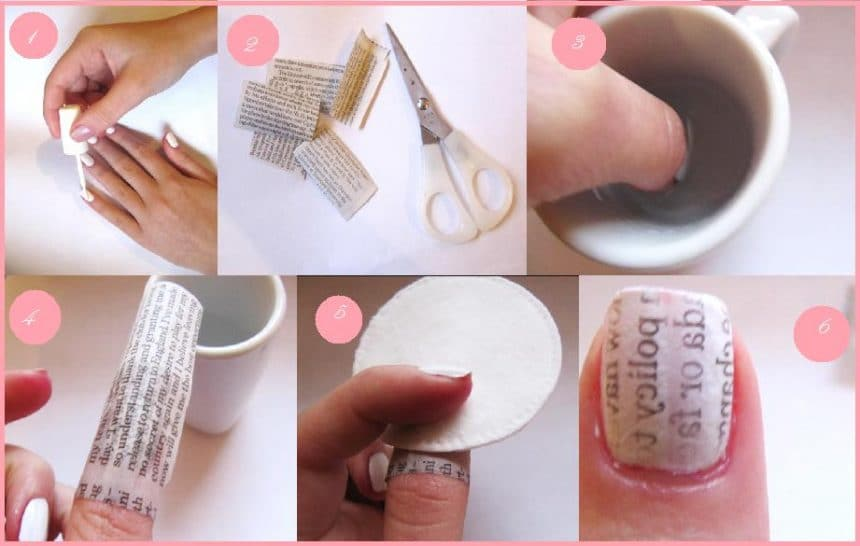 Newspaper-Nail-Art-Design-Tutorial-for-Christmas-holidays-2