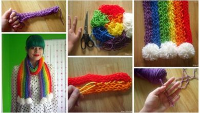 Knit a Rainbow scarf on his fingers