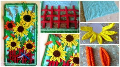 Sunflower from corrugated paper