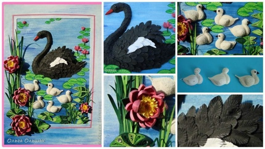 How to make quilling little swans