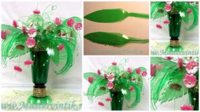 Bouquet of flowers from plastic bottles