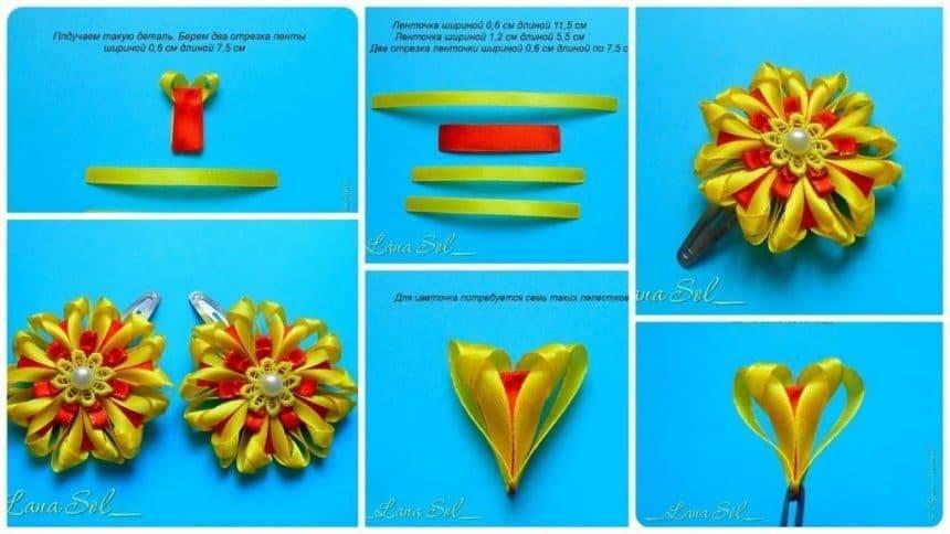 Hair clip from ribbon flower