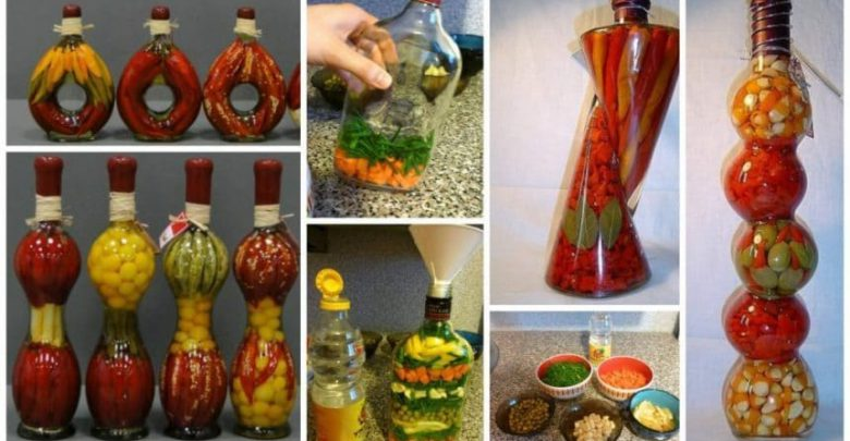 Decorative Bottles With Vegetables Prepossessing Decorative Bottle With Vegetables For The Kitchen Decor  Simple Decorating Design