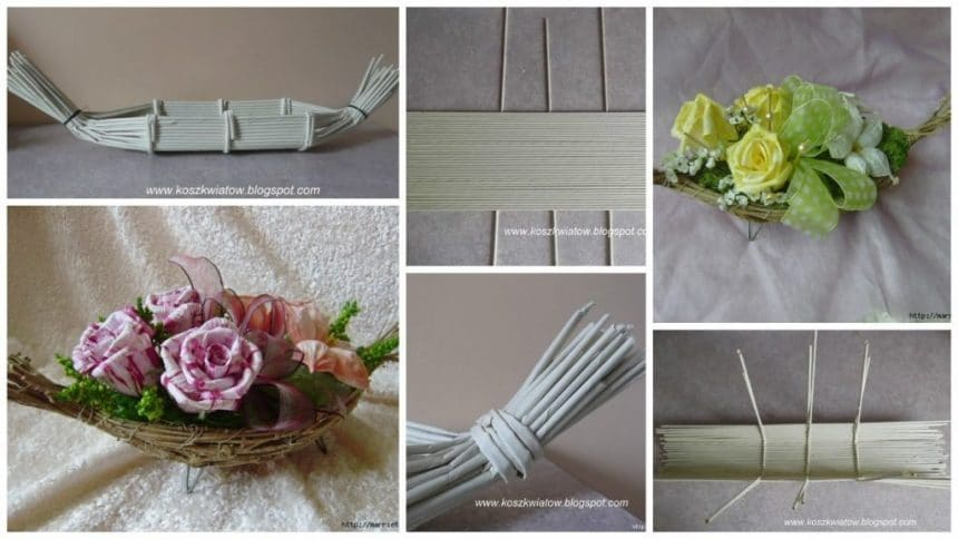 Boat of paper tubes for decorative flower arrangement