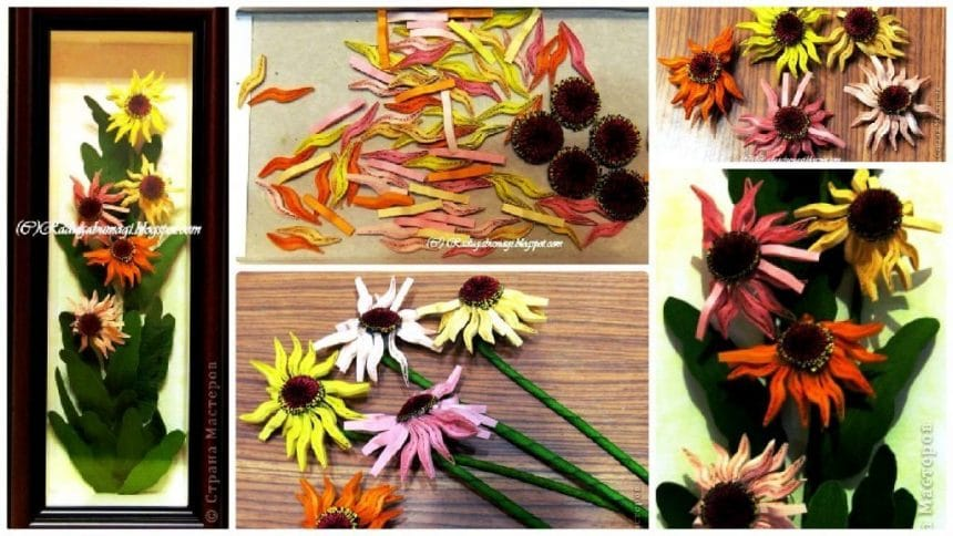How to make quilling echinacea