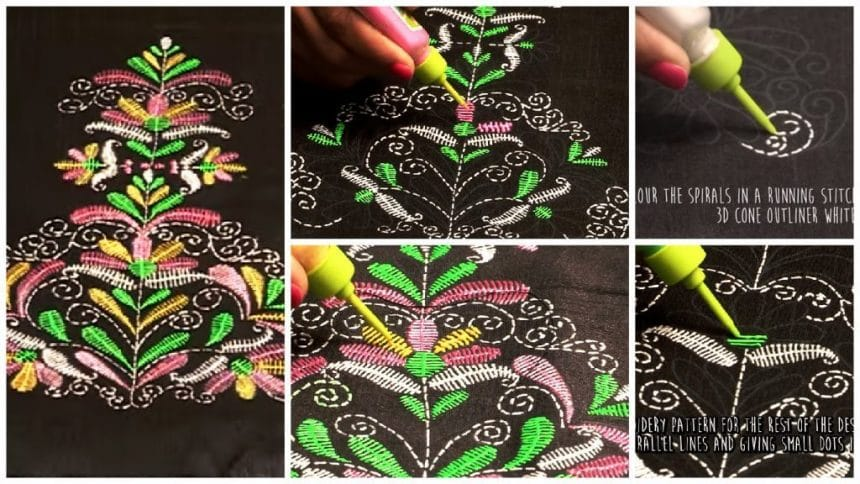 Liquid Embroidery Butta Simple Craft Ideas