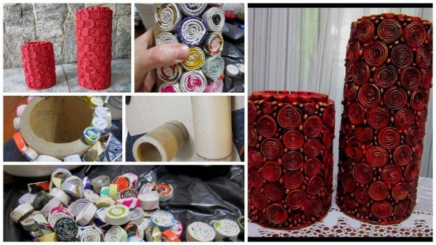 How to make vase from newspaper tubes