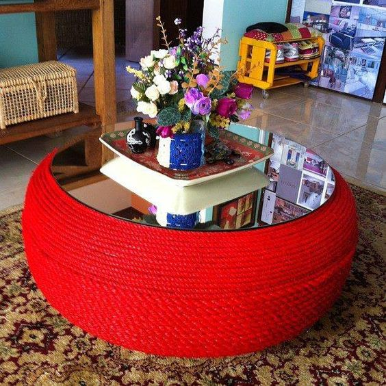 old tire turned into a coffee table - simple craft ideas