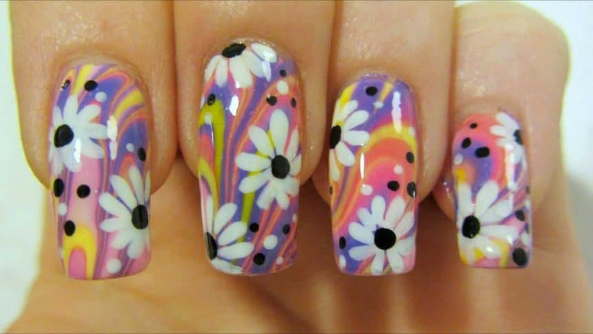 Colorful hippie flower nail art simple craft ideas prinsesfo Choice Image