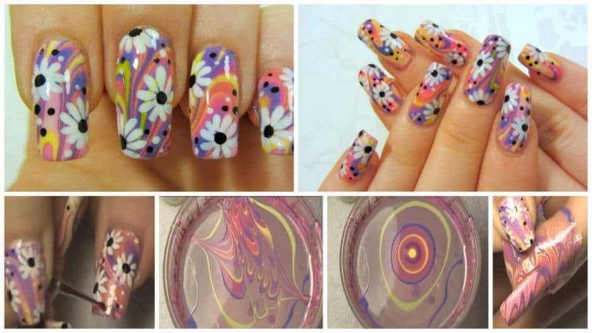 Colorful hippie flower nail art simple craft ideas nail art prinsesfo Choice Image
